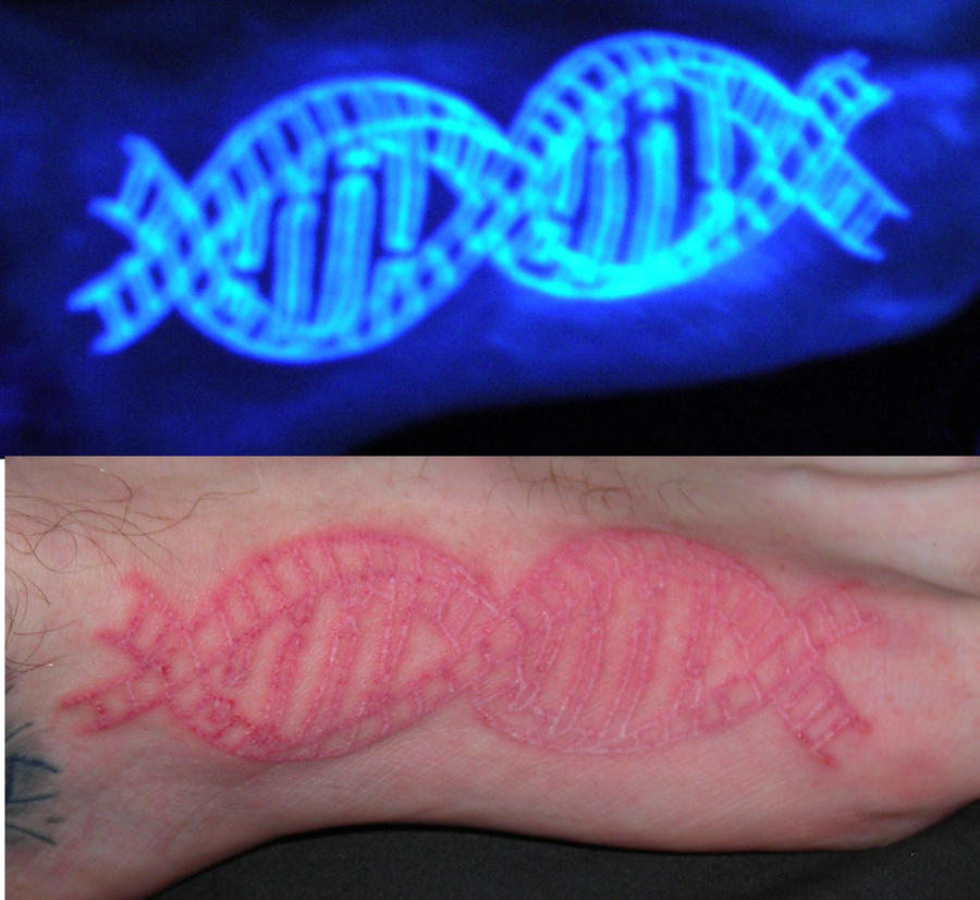 Invisible dna tattoo by lucidpetroglyphs666 on deviantart for Invisible ink tattoo removal price