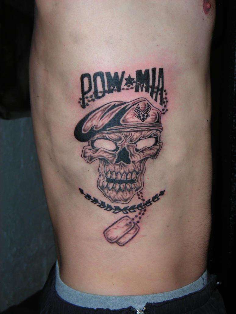 Pow mia tattoo with skull by lucidpetroglyphs666 on deviantart for Pow mia tattoo