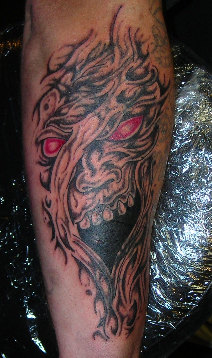 Evil face cover up tattoo by lucidpetroglyphs666 on deviantart for Evil faces tattoos