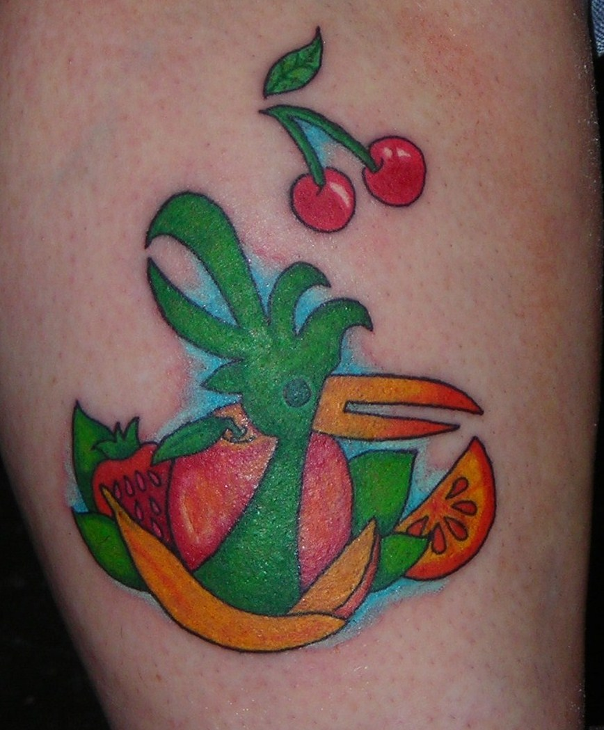 odwalla bird and fruit tattoo by lucidpetroglyphs666 on deviantart. Black Bedroom Furniture Sets. Home Design Ideas