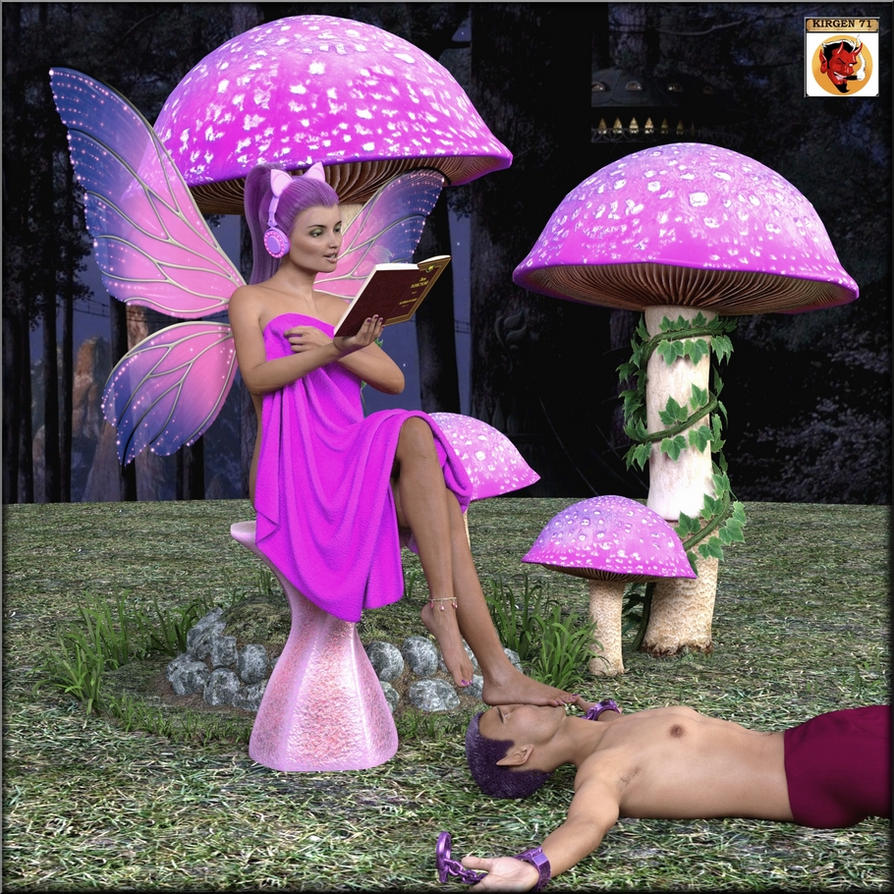 Pink Fairy footstool by kirgen71