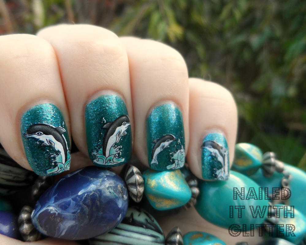 Dolphin nail art decals by NailedItWithGlitter