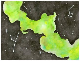 Watercolour Nebula by NailedItWithGlitter