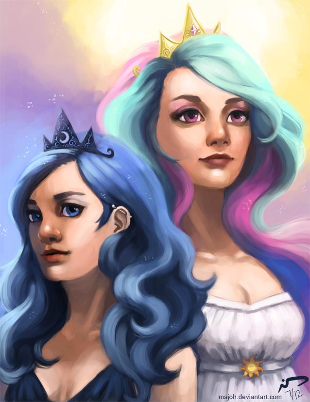 Celestia and Luna by Majoh on DeviantArt