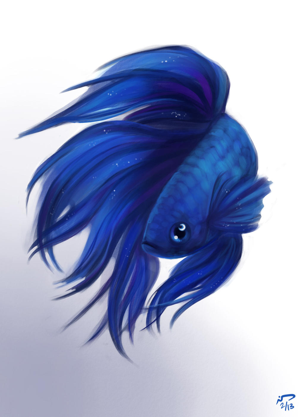 Moon betta by majoh on deviantart for Betta fish painting