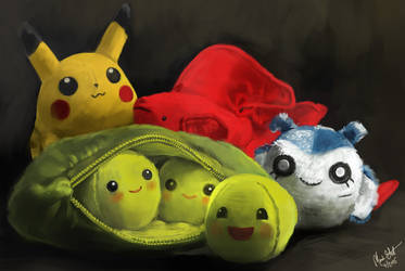 April still life #1: little plushies! by Majoh