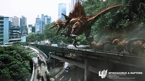 Spinosaurus and raptors