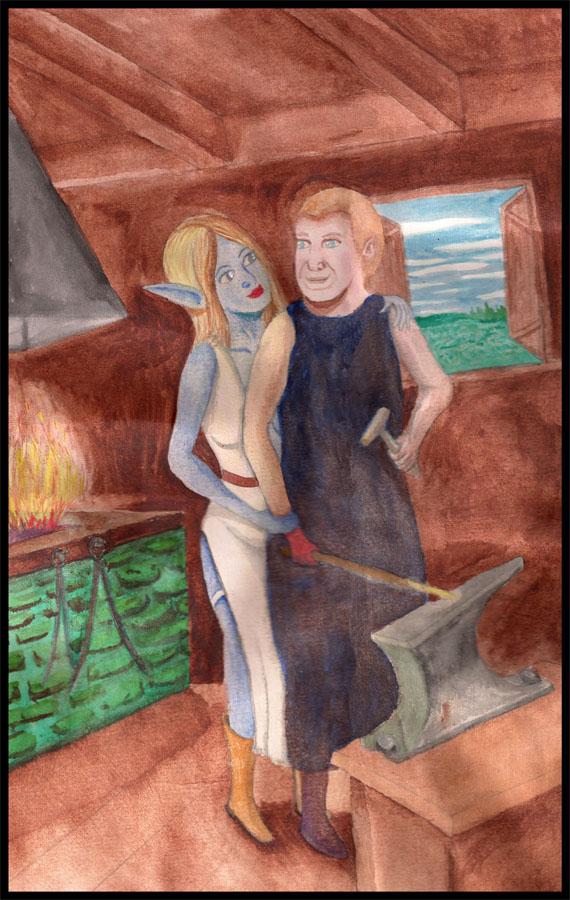 Blacksmith and Elf by DungeonWarden