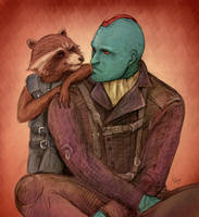 Yondu and Rocket by J-666