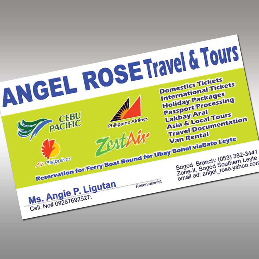 ANGEL ROSE TRAVEL AND TOUR BUSINESS CARD by gregyangco on DeviantArt