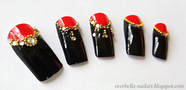 Stylish Nail Art Desgin W Rhinestones N Beads By Everbella On Deviantart