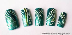 Green Abstract Nail Art Design