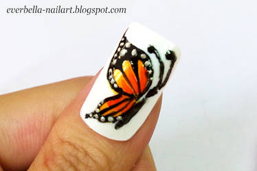 Hand Painted Butterfly Nail Art Design