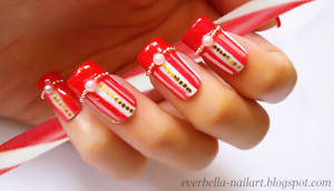 Candy Cane Sweet and Cute Nail Art Design