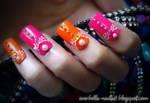 Orange n Hot Pink Nail Art Design w decals