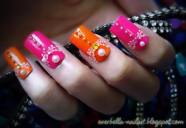 Orange N Hot Pink Nail Art Design W Decals By Everbella On Deviantart