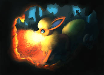 Flareon in a cave by Hot-dog-cat
