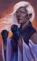 Commission - Drow Elf monk