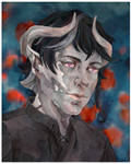 Commission - Melancholic Tiefling by point-maitimo