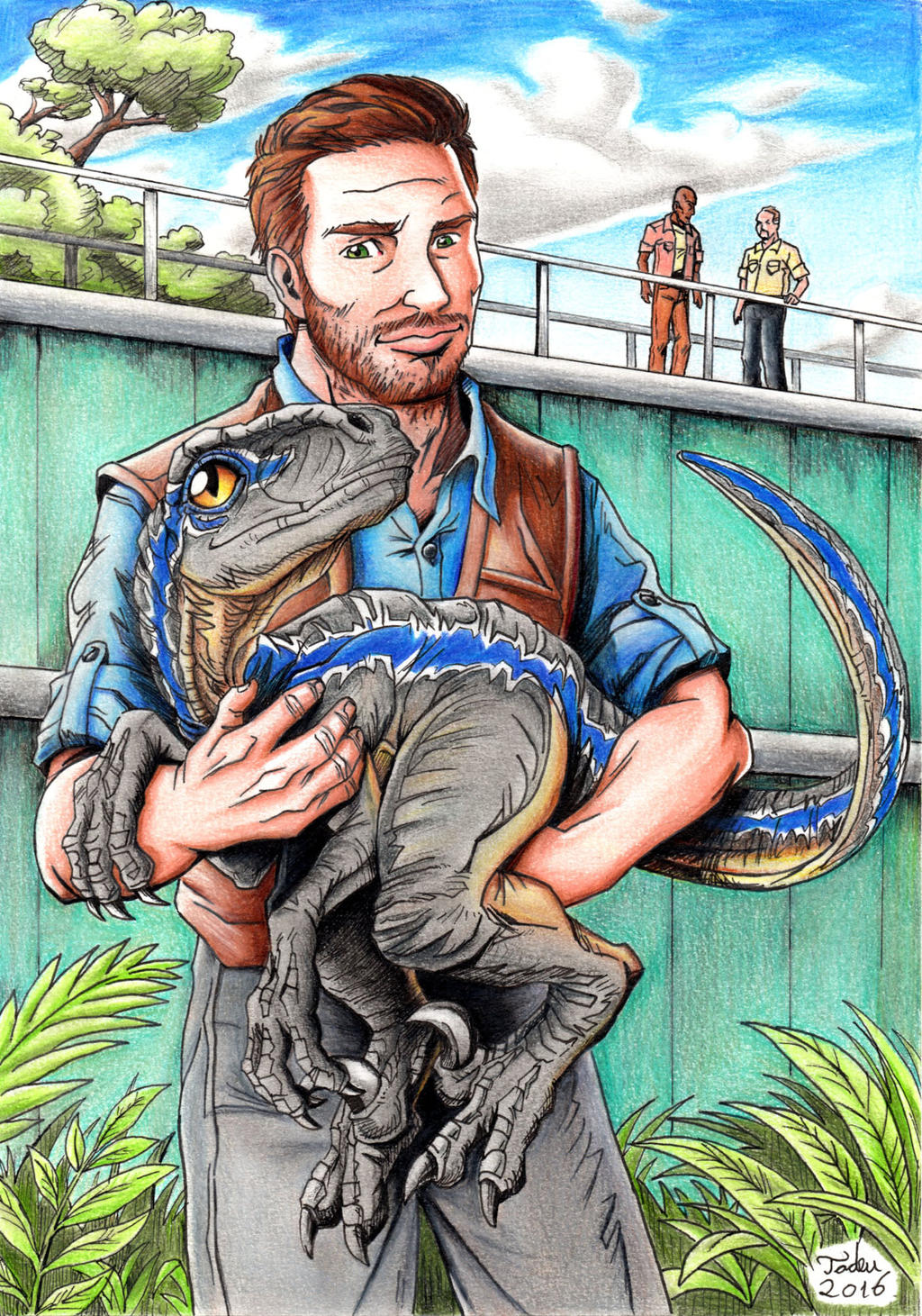 Jurassic World Owen And Baby Blue By Tadeu Costa On