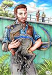 Jurassic World - Owen and baby Blue by Tadeu-Costa