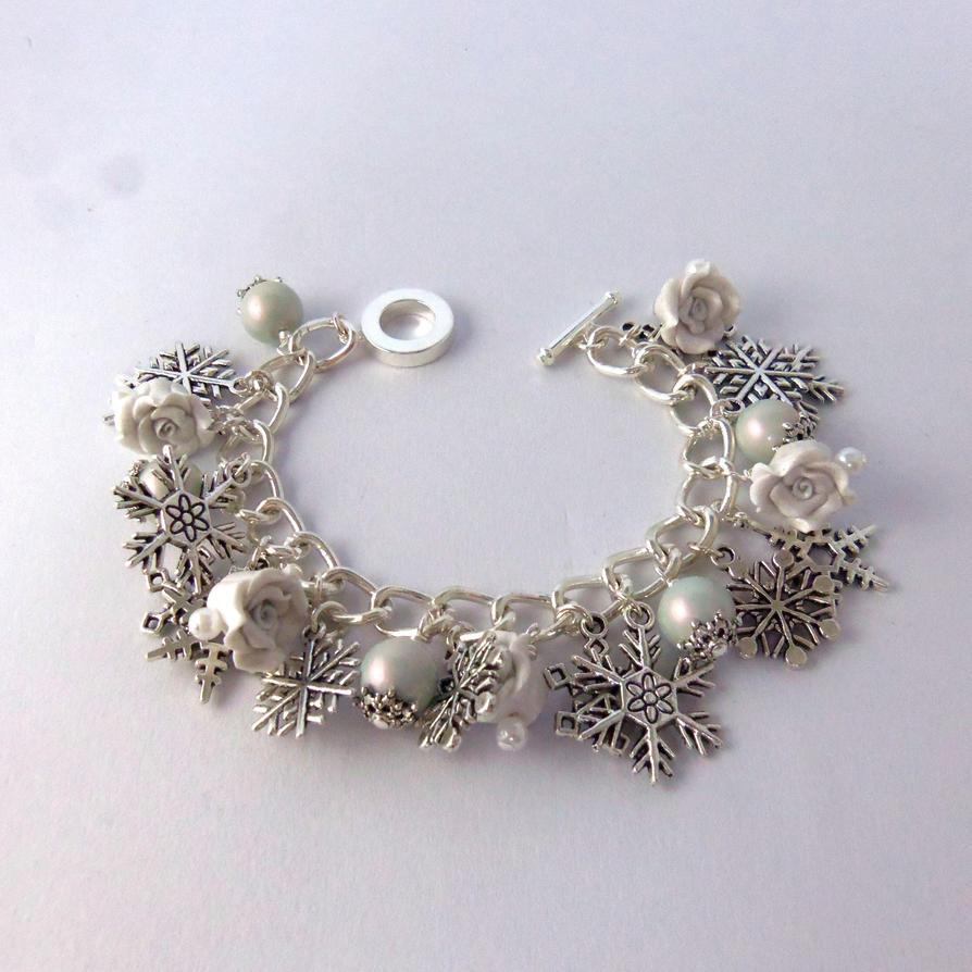 Snowflake Charm Bracelet: White And Blue Pearl And Snowflake Charm Bracelet By