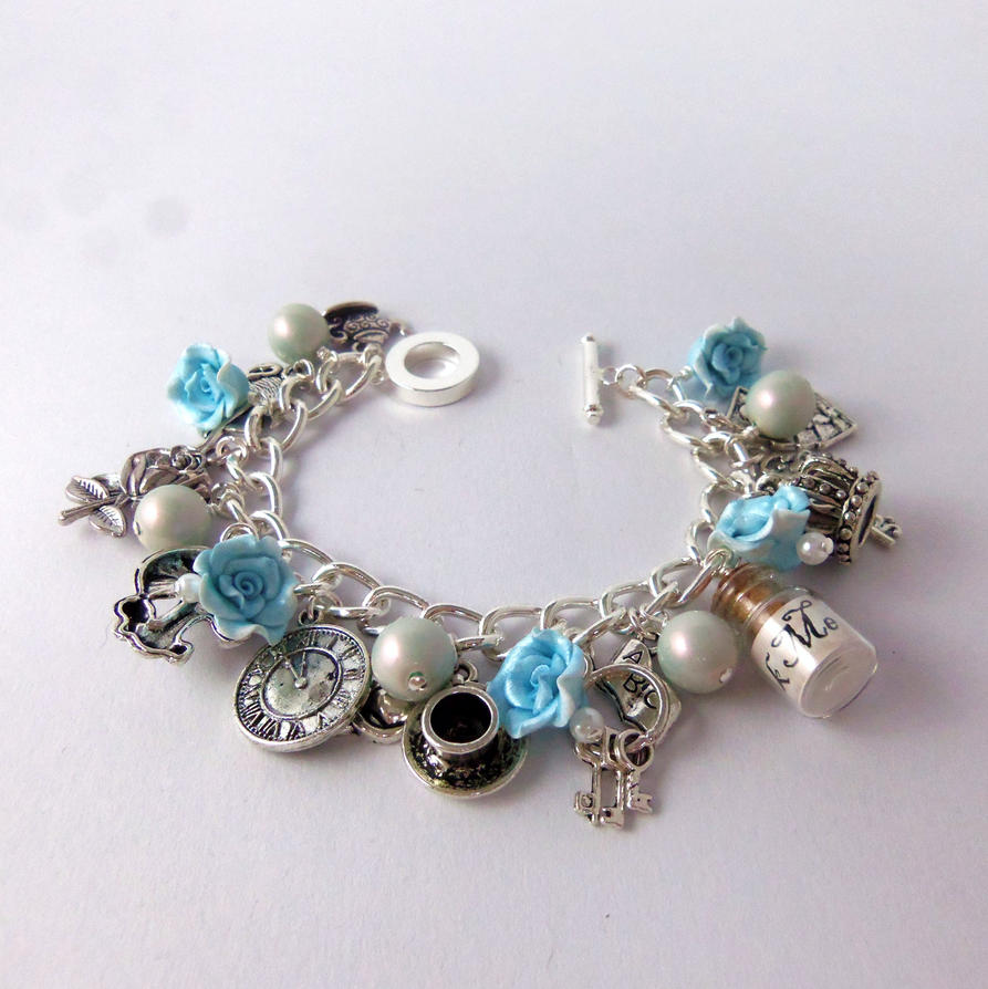 alice in wonderland charm bracelet turquoise by
