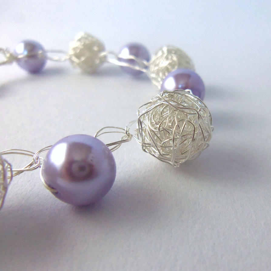 Purple pearl and silver wire crochet bracelet by ...