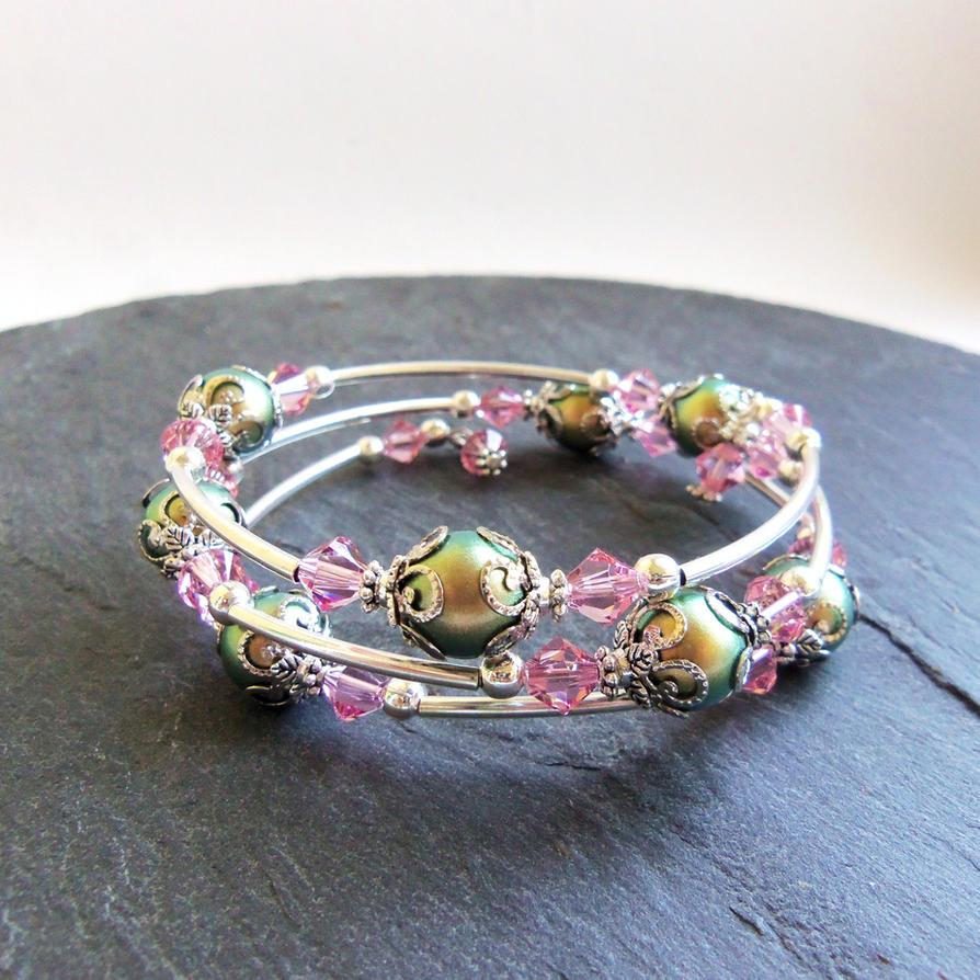 Green and pink Swarovski memory wire bracelet by ...