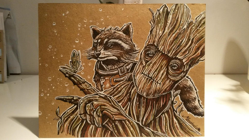 Rocket and Groot by moonshadebutterfly