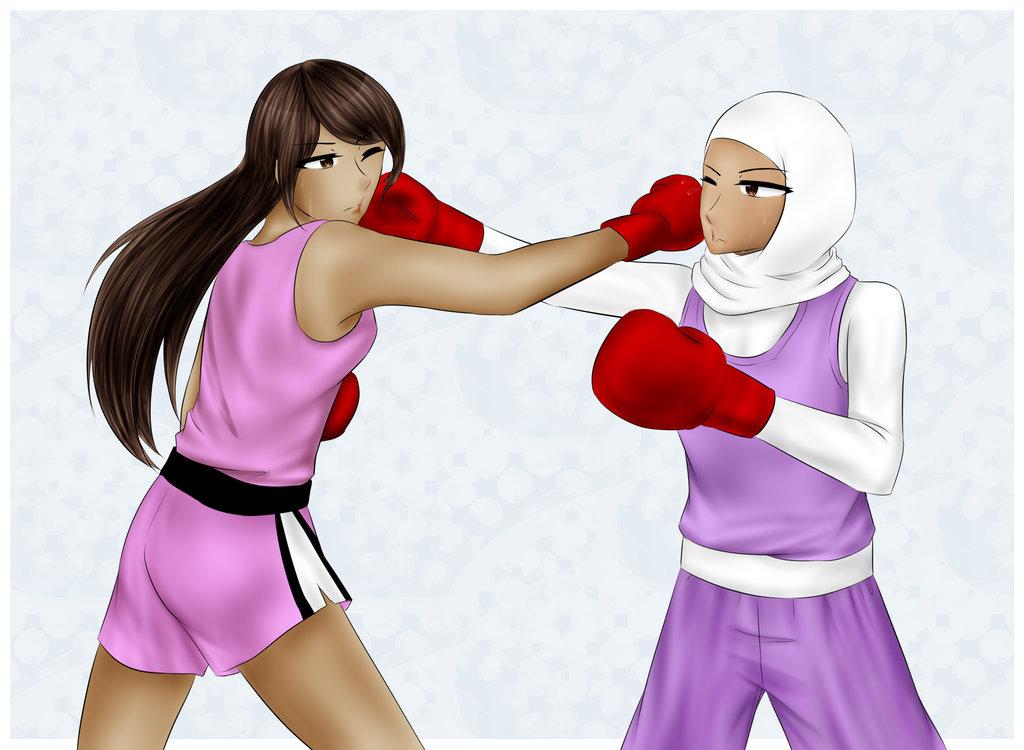 Manju and Nesrine trading blows (by Harukiri) by ballionaire