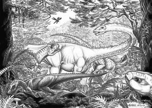 Allosaurus-Diplodocus-Othnielia-A.