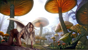 Fairy among the toadstools.