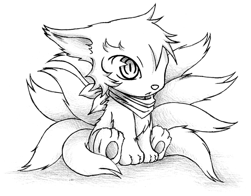 Chibi Anime Cat Drawing Boy Gumiho Chibi Ninetails