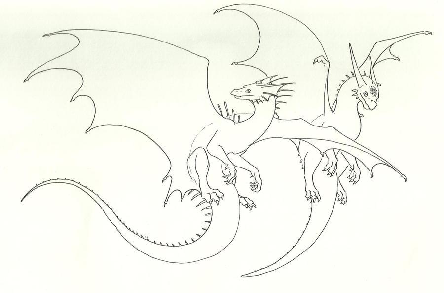 Line Art Dragon : Dragon ocs collab lineart by fantasybond on deviantart