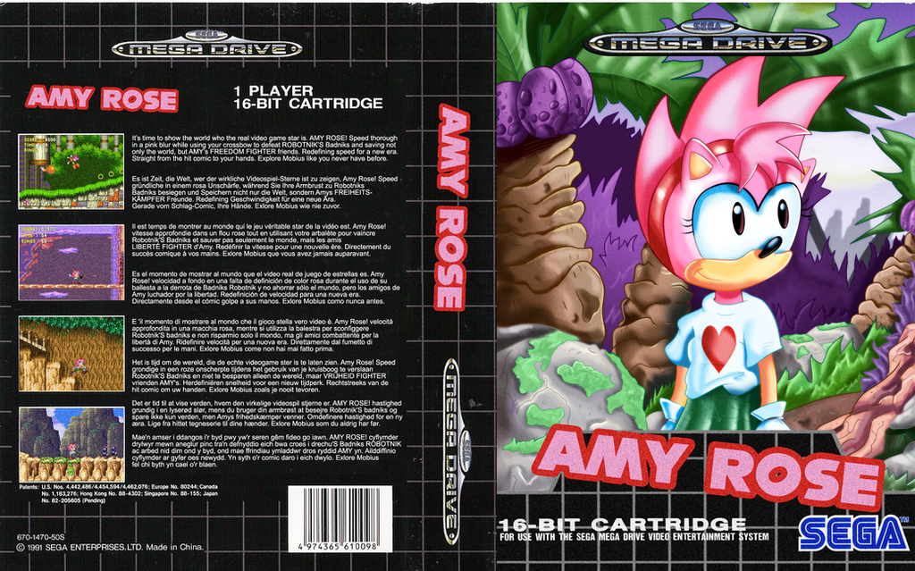 Amy Rose, for the Sega Mega Drive by kintobor