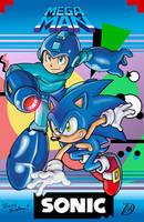 Sonic and Mega-man w/ Yardley by kintobor
