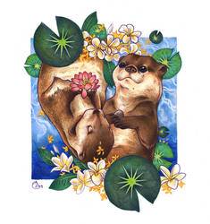 Otters by TirraMisu