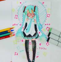 Miku with glasses!! by Hiroki-Ajame