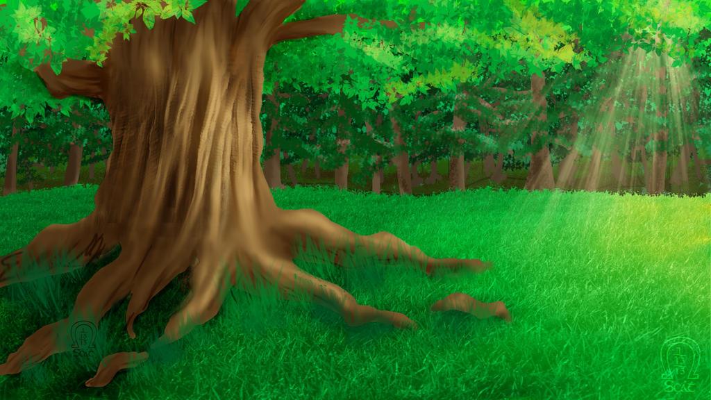 Giant Tree Scene by AnScathMarcach