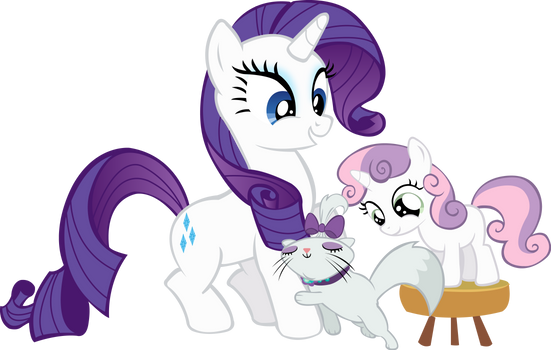 Rarity, Sweetie Belle and Opal