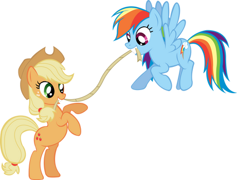 Rainbow Dash and Applejack Tug of War