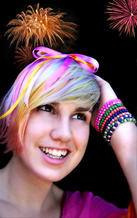 Pastel Rainbow Hair Fireworks by littlehippy