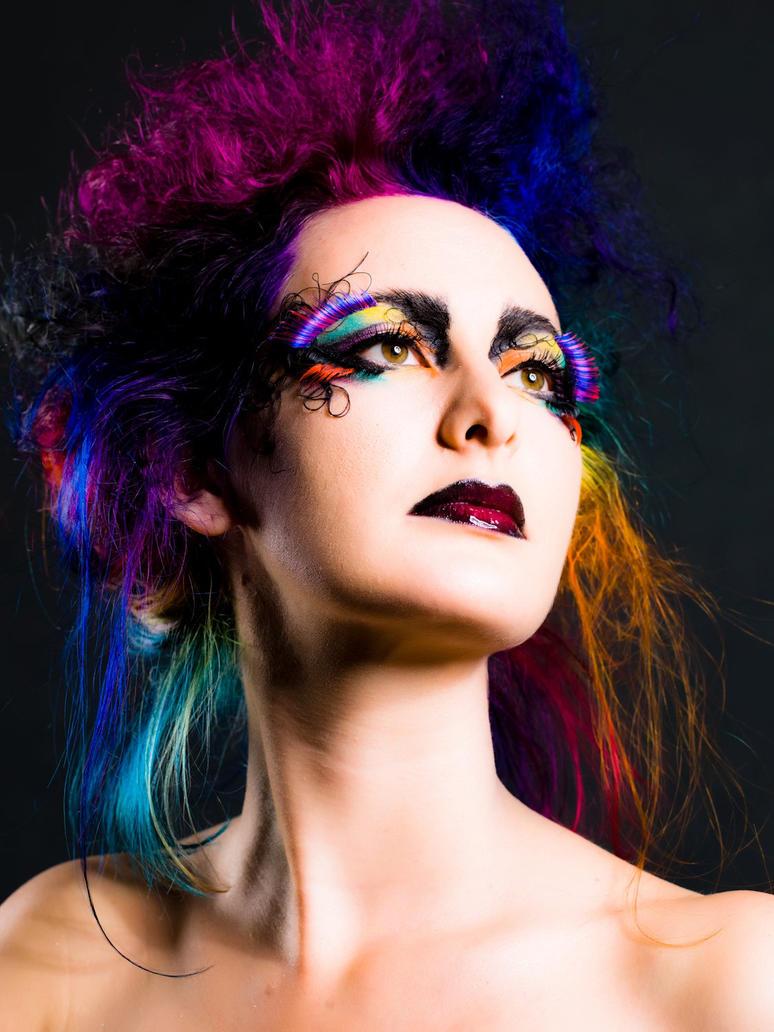 Rainbow Hair and Make-Up by littlehippy