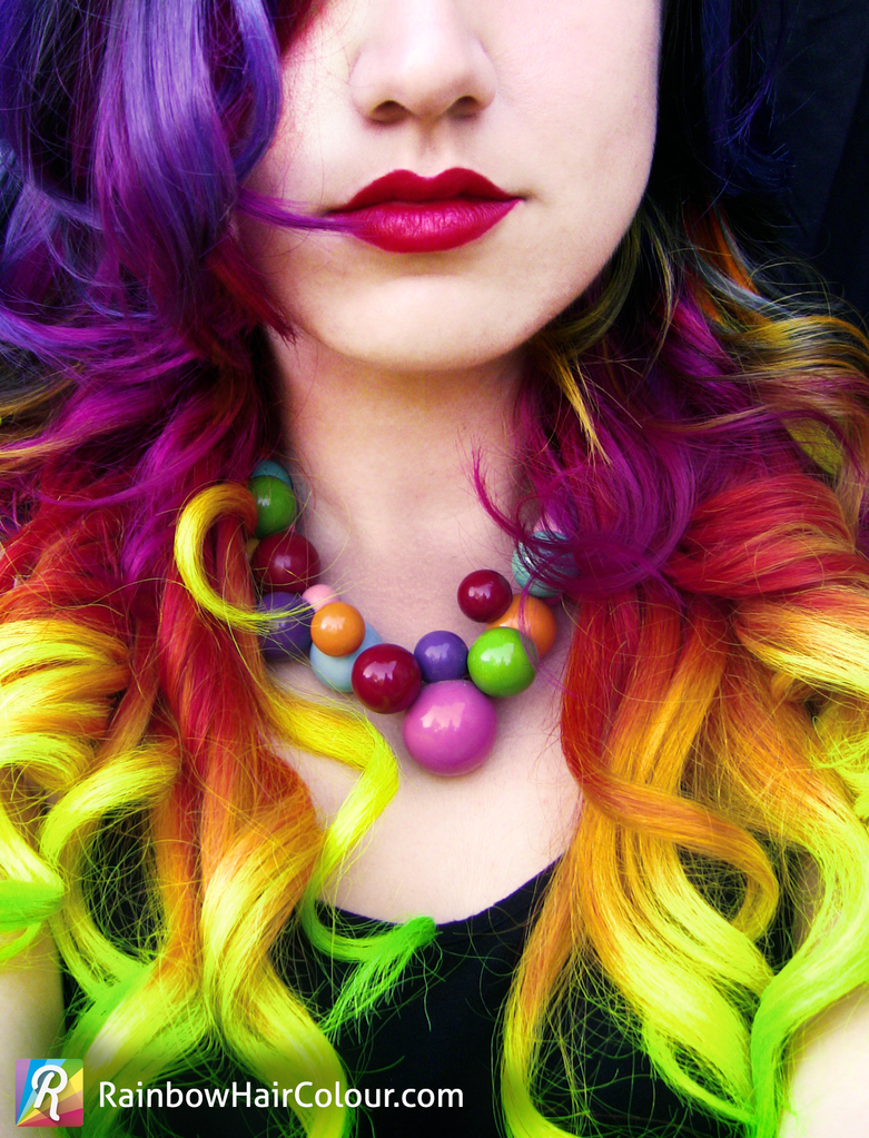 Hand Dyed Rainbow Hair Extensions (Clip In, Human) by littlehippy