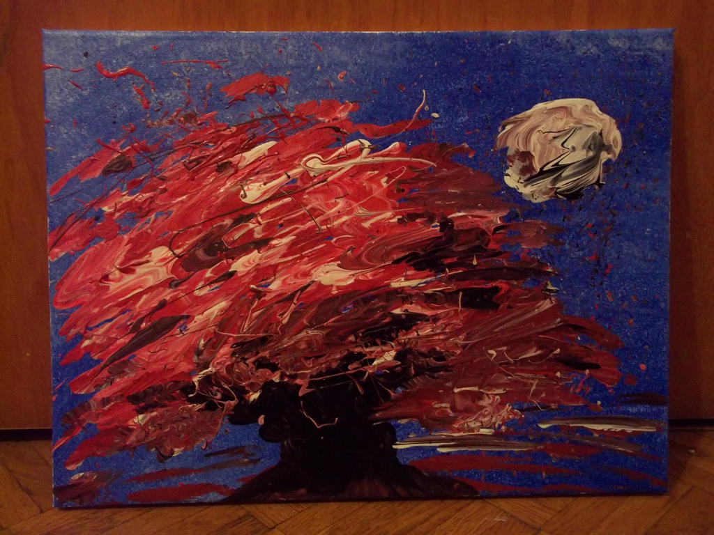 Acrylic abstract Tree red by CherryCurse on DeviantArt