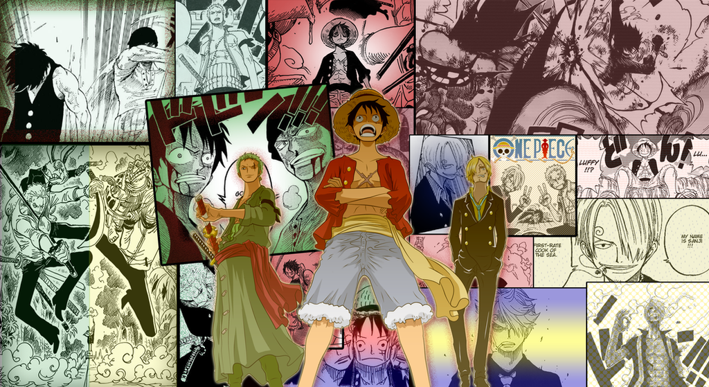 One Piece Monster Trio Luffy Zoro Sanjiwallpaper By Miahatake