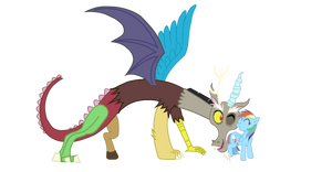 Discord Snuggling Rainbow Dash
