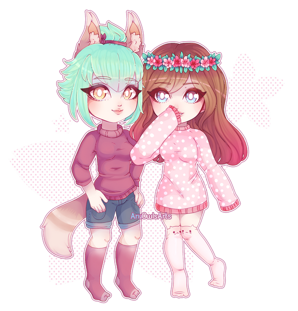 Chibi couple style 1 Commission for gamergirlmash by AruOwlsArts