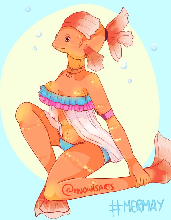 Mermay 01 - Golden Fish by AruOwlsArts